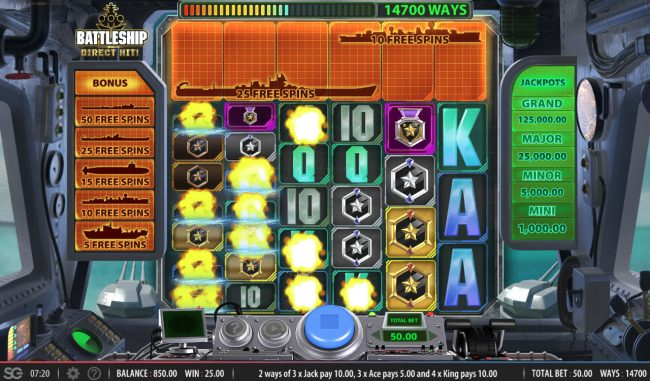 Battleship Direct Hit :: Winning combinations are removed from the reels and new symbols drop in place