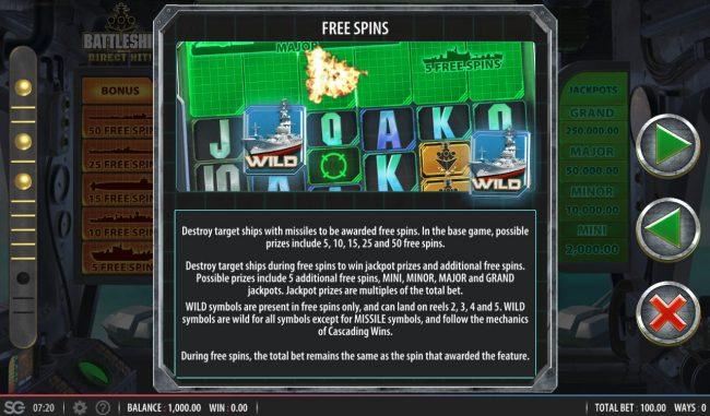 Battleship Direct Hit :: Free Spins Rules