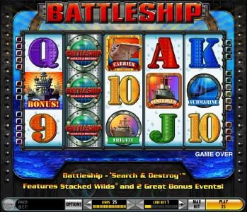 Zinger Spins featuring the Video Slots Battleship - Search and Destroy with a maximum payout of $25,000