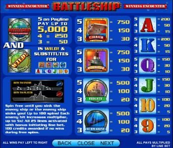 Coral featuring the Video Slots Battleship - Search and Destroy with a maximum payout of $25,000