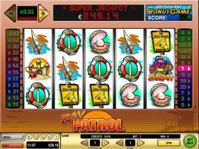 Dragonara featuring the Video Slots Bay Patrol with a maximum payout of $10,000
