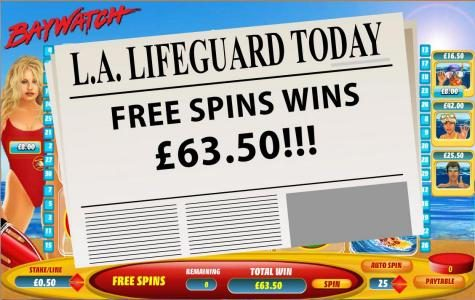 free spins feature pays out a $63 jackpot