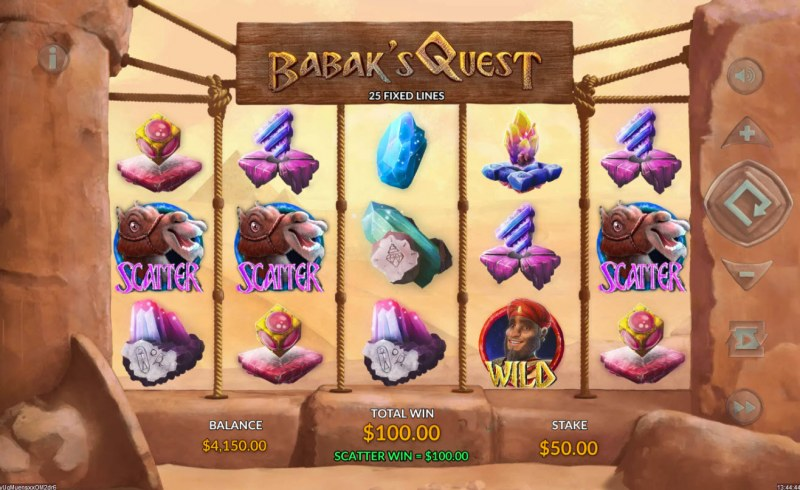 Babak's Quest :: Scatter symbols triggers the free spins feature