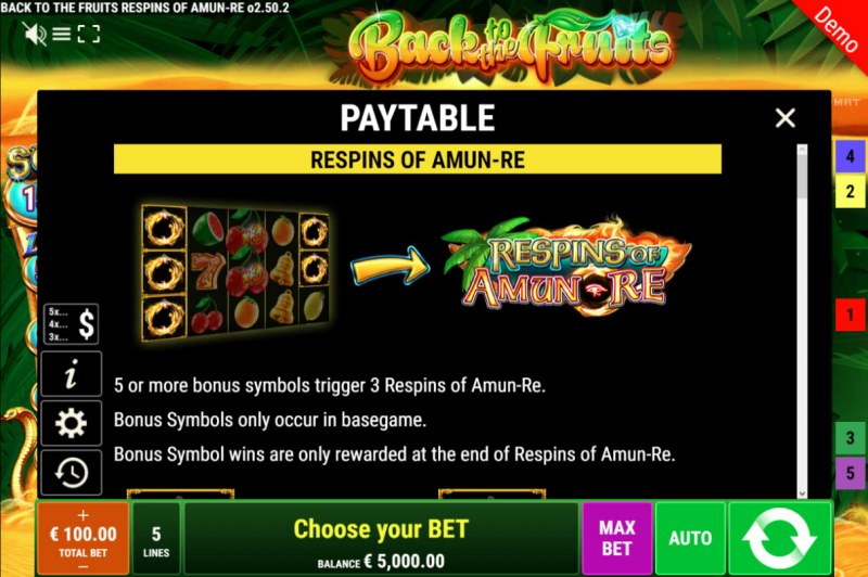 Back to the Fruits Respins of Amun Re :: Respins Feature Rules