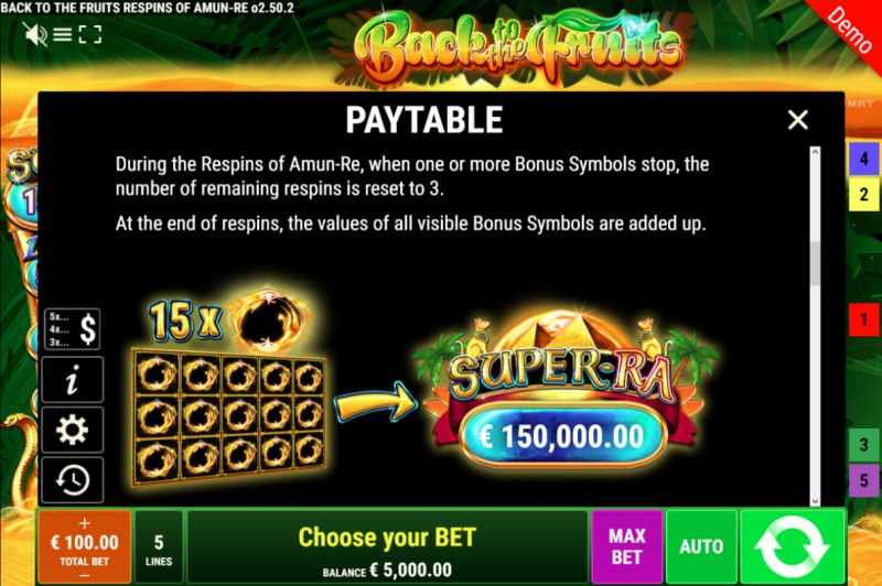 Back to the Fruits Respins of Amun Re :: Paytable - Feature