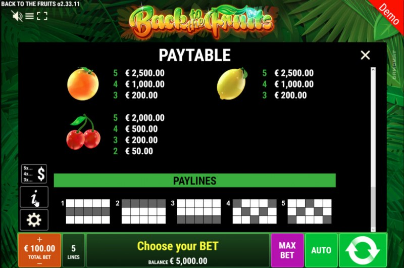 Back to the Fruits :: Paytable - Low Value Symbols