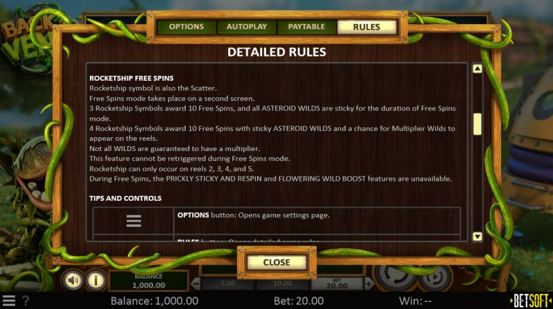 Back to Venus :: Free Spins Rules
