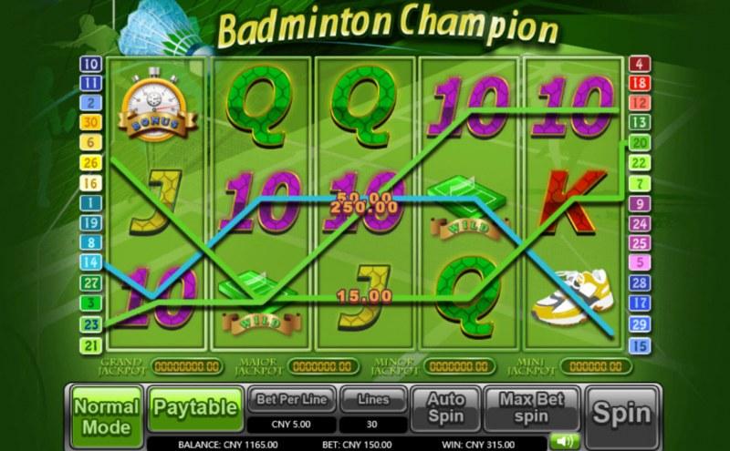 Badminton Champion :: Multiple winning paylines
