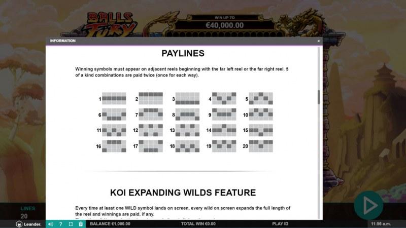 Balls of Fury :: Paylines 1-20