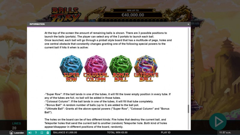 Balls of Fury :: Feature Rules