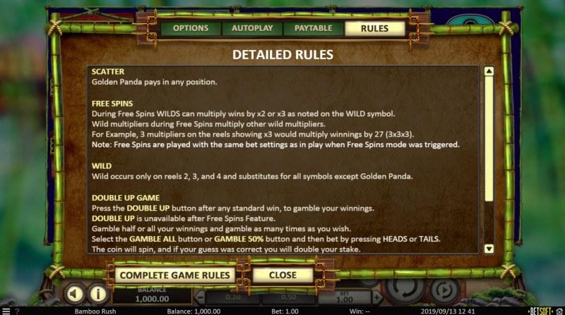Bamboo Rush :: General Game Rules