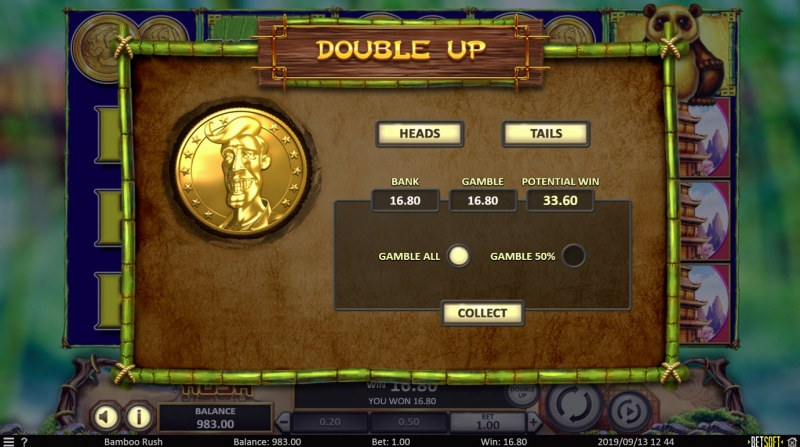Bamboo Rush :: Heads or Tails Gamble Feature