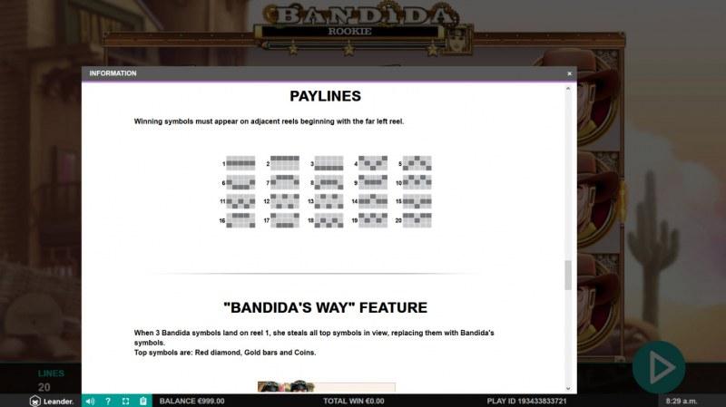 Bandida :: Paylines 1-20