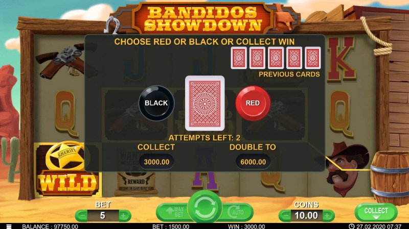 Bandidos Showdown :: Black or Red Gamble Feature