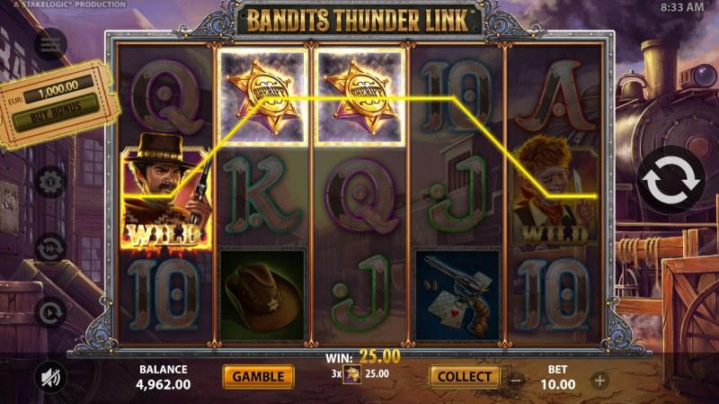 Bandits Thunder Link :: A three of a kind win
