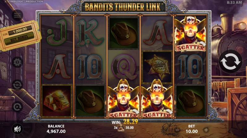 Bandits Thunder Link :: Scatter symbols triggers the free spins bonus feature