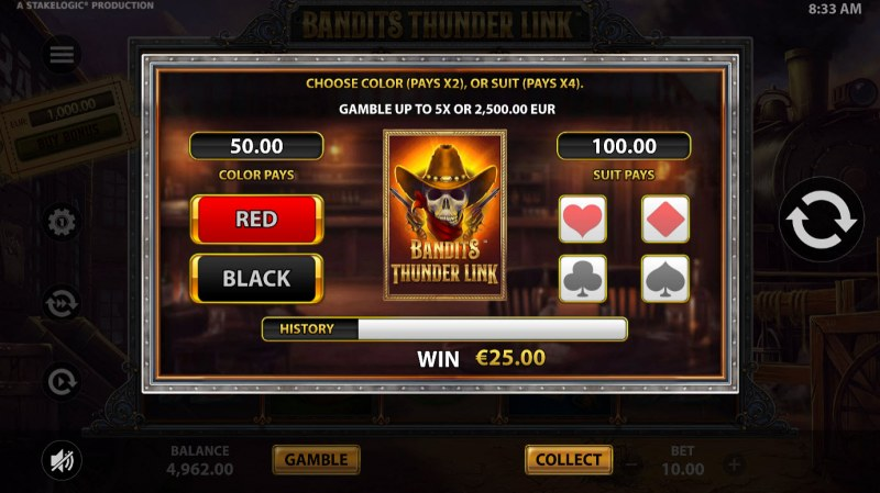 Bandits Thunder Link :: Gamble feature is available after every win