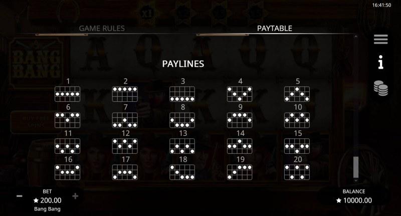 Bang Bang :: Paylines 1-20