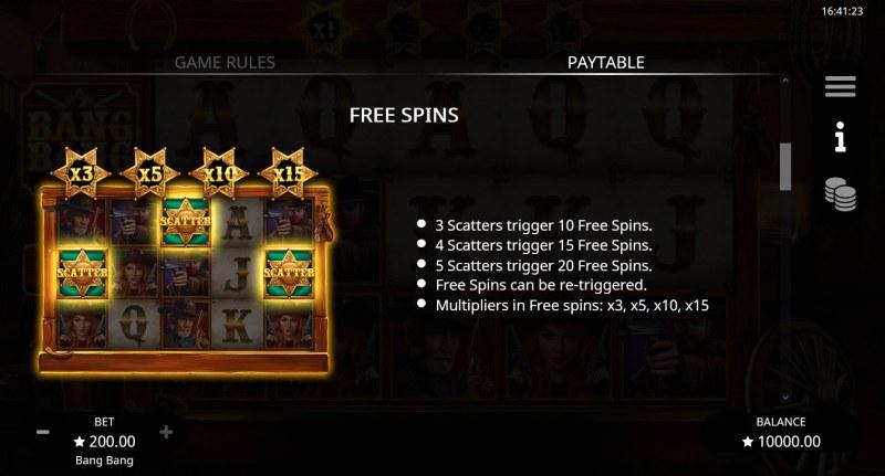 Bang Bang :: Free Spin Feature Rules