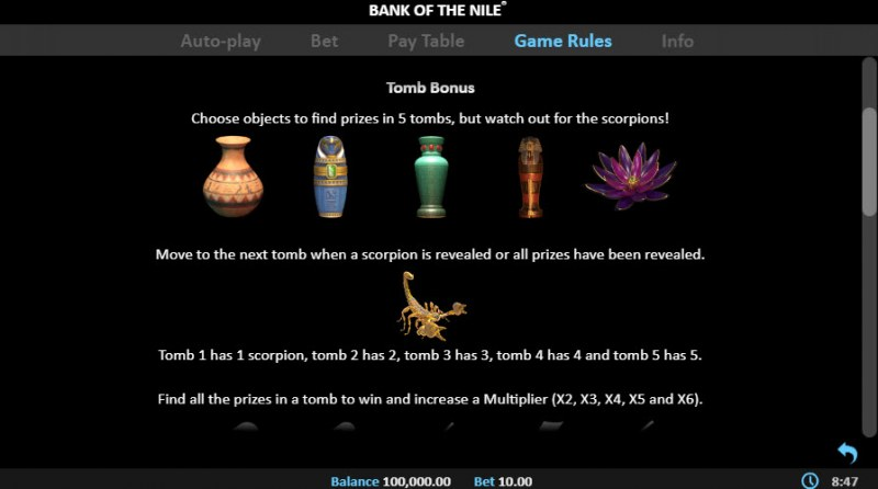 Bank of the Nile :: Bonus Game Rules