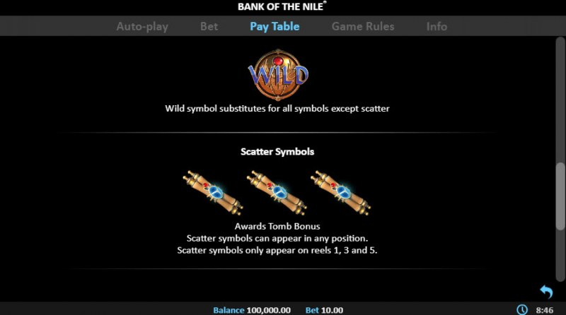 Bank of the Nile :: Wild and Scatter Rules