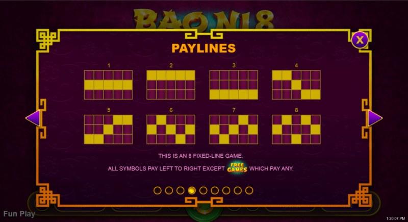 Bao Ni 8 :: Paylines 1-8