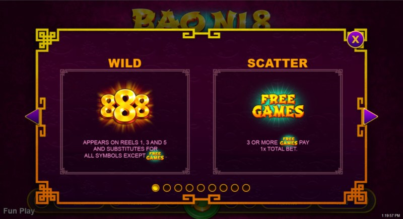 Bao Ni 8 :: Wild and Scatter Rules