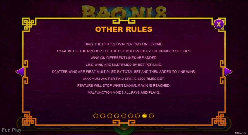 Bao Ni 8 :: General Game Rules