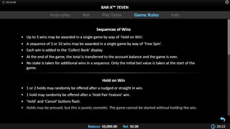 Bar-X 7even :: Feature Rules