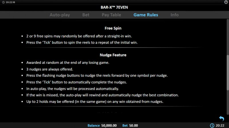 Bar-X 7even :: Free Spin Feature Rules