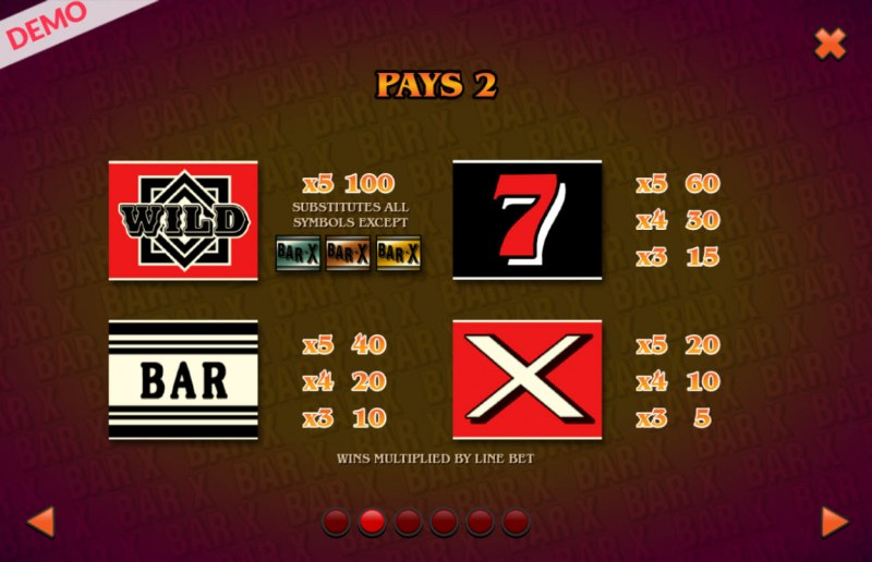 BAR X Colossal :: Paytable - Low Value Symbols