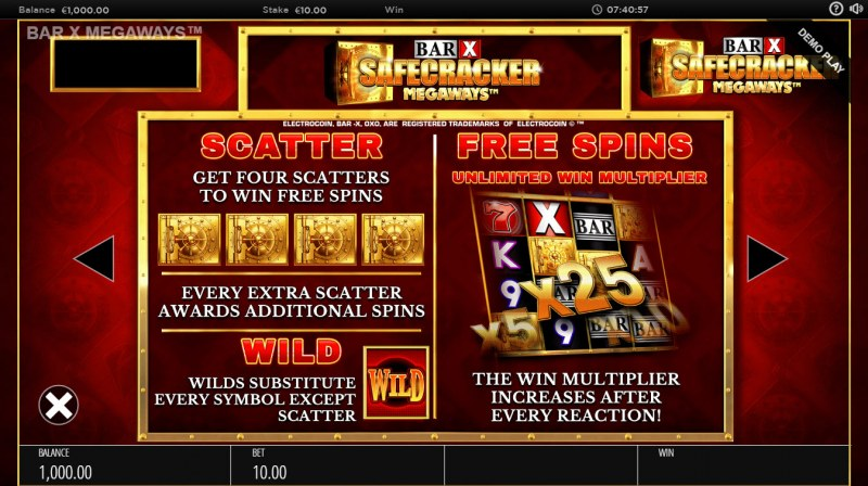 BAR-X Safecracker Megaways :: Free Spins Rules