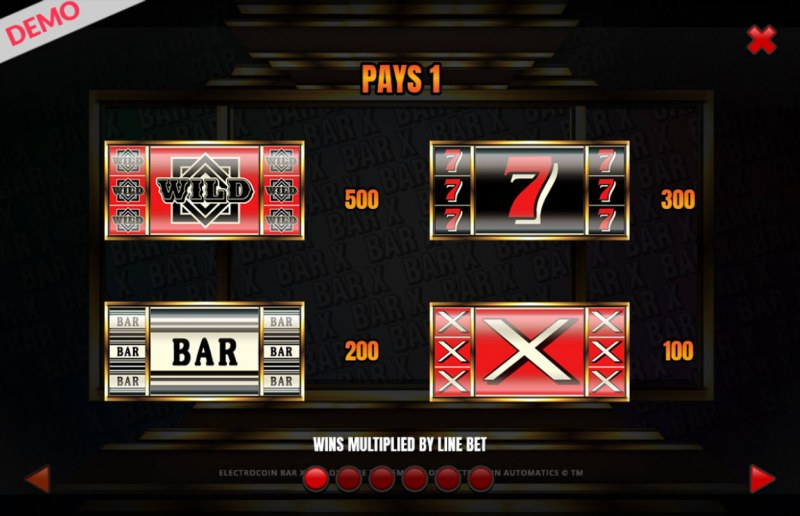 BAR-X-XL :: Paytable - High Value Symbols
