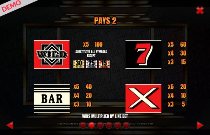 BAR-X-XL :: Paytable - Low Value Symbols
