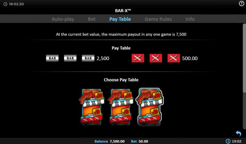 BAR-X :: Paytable