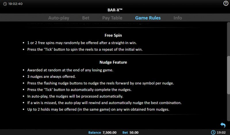 BAR-X :: Free Spin Feature Rules