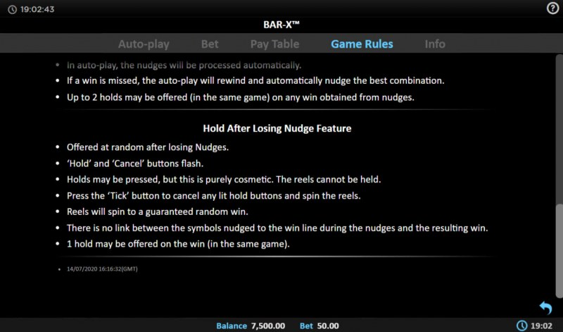 BAR-X :: Hold After Losing Nudge Feature