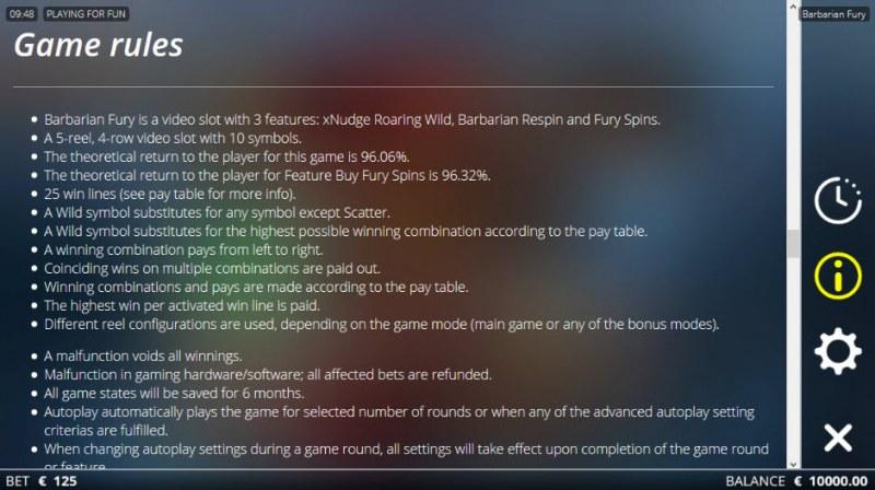 Barbarian Fury :: General Game Rules