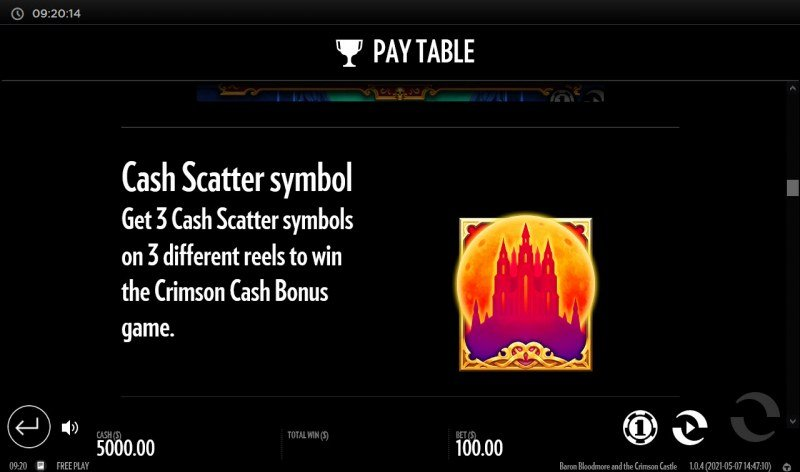 Baron Bloodmore and the Crimson Castle :: Cash Scatter