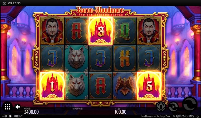 Baron Bloodmore and the Crimson Castle :: Three or more bonus scatters triggers the Cash Bonus feature