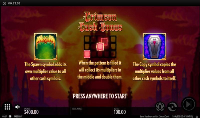 Baron Bloodmore and the Crimson Castle :: Cash Bonus Feature