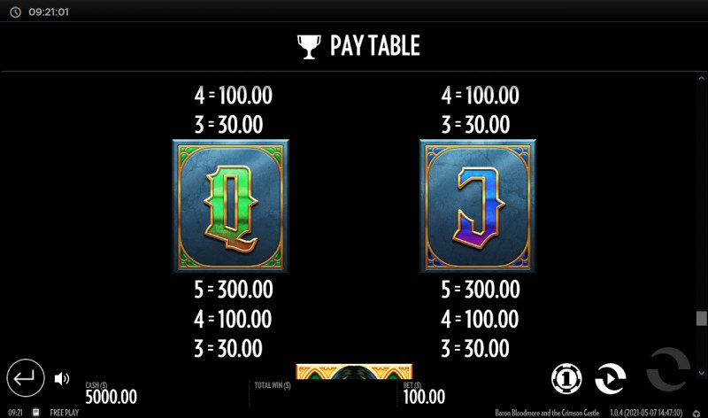 Baron Bloodmore and the Crimson Castle :: Paytable - Low Value Symbols