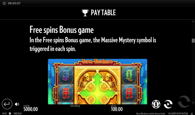 Baron Bloodmore and the Crimson Castle :: Free Spin Feature Rules