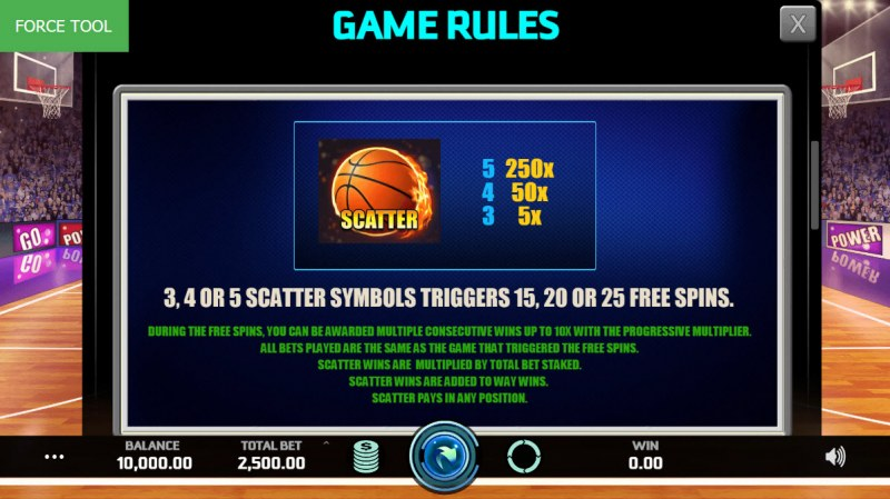 Basketball Pro :: Scatter Symbol Rules