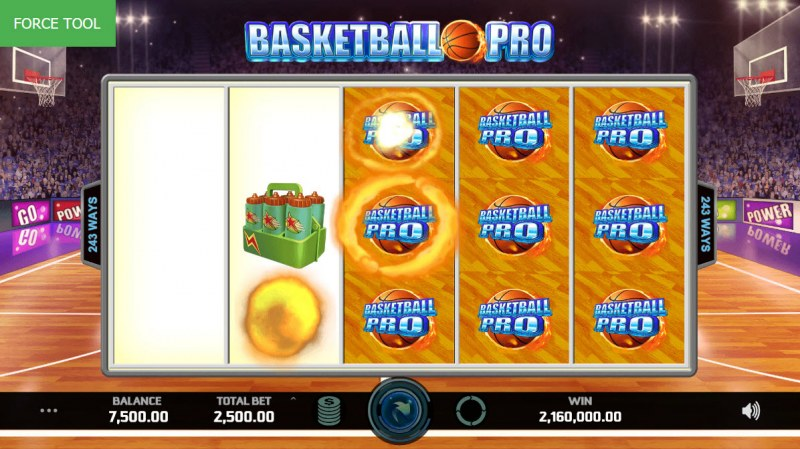 Basketball Pro :: Winning symbols are removed from the reels and new symbols drop in place