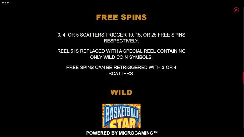 Basketball Star on Fire :: Free Spin Feature Rules