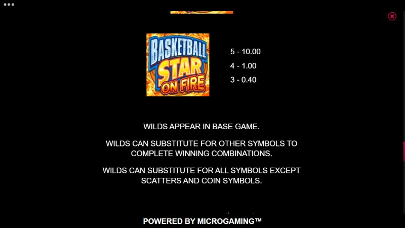 Basketball Star on Fire :: Wild Symbol Rules