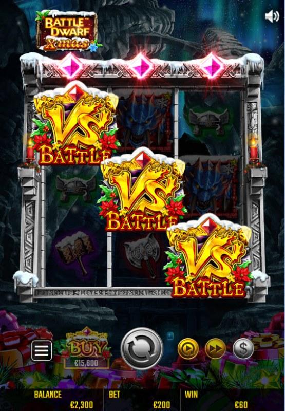 Battle Dwarf Xmas :: Scatter symbols triggers the free spins bonus feature