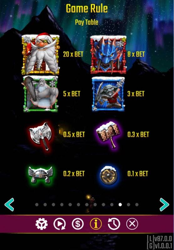 Battle Dwarf Xmas :: Paytable