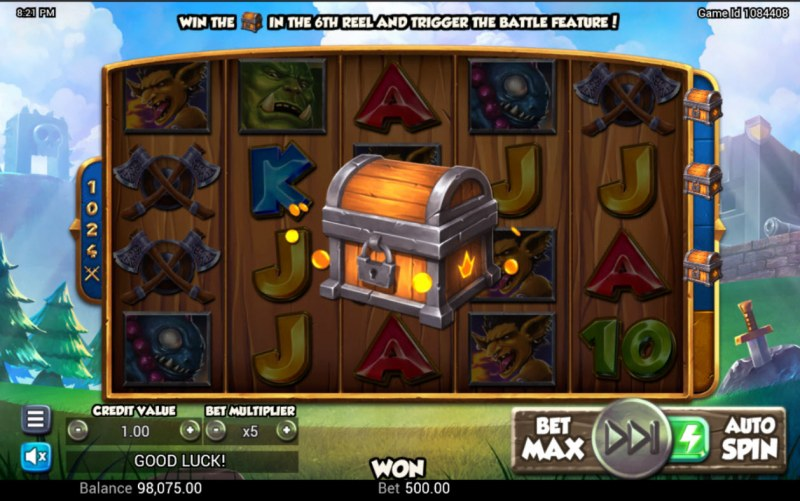 Battle Heroes :: Chest symbol on 6th reel activates free games
